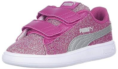 36bdfe972544 PUMA Girls  Smash V2 Glitz Glam Velcro Sneaker Magenta Haze Silver