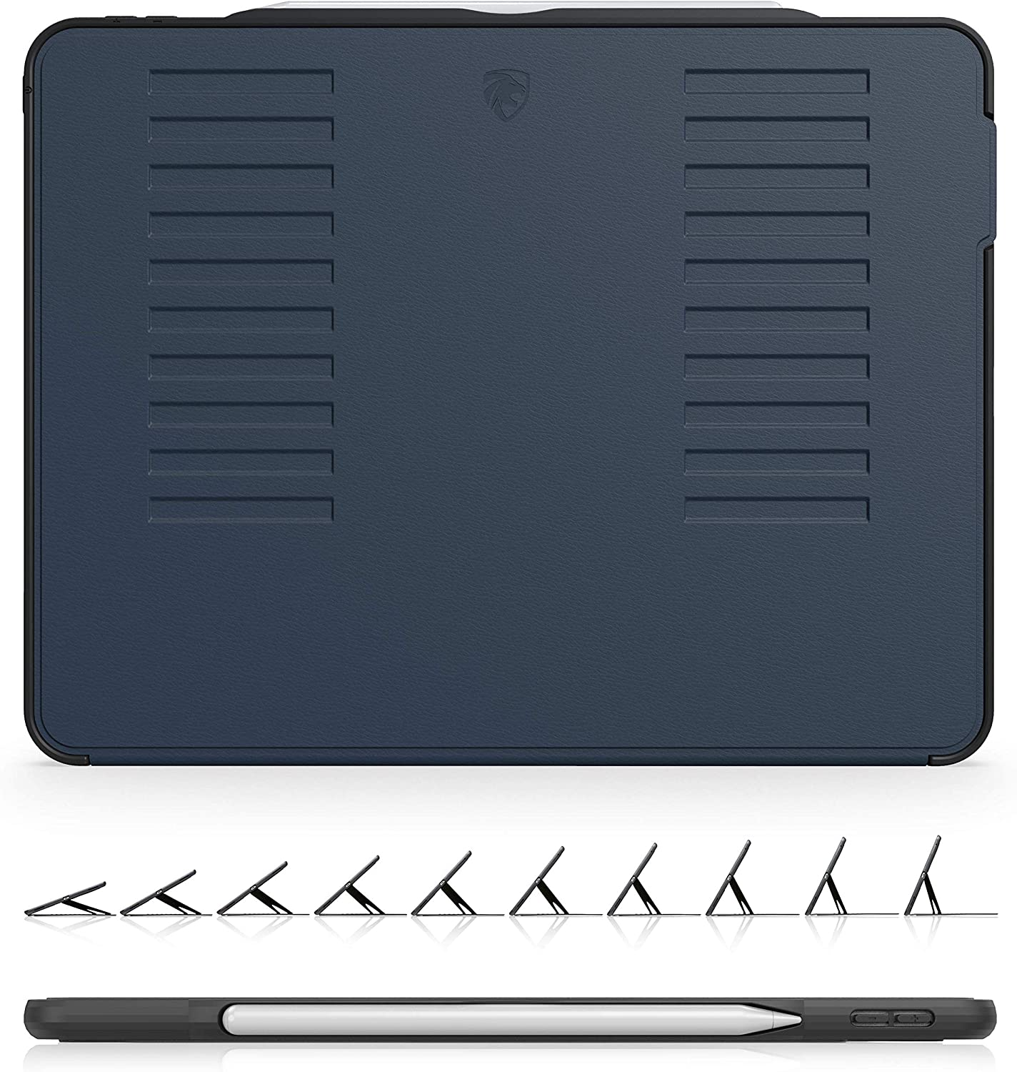 The Muse Case - 2018 iPad Pro 12.9 inch 3rd Gen (Old Model) - Very Protective But Thin + Convenient Magnetic Stand + Sleep/Wake Cover by ZUGU CASE (Navy Blue) (Model #'s A1876, A2014, A1895, A1983)