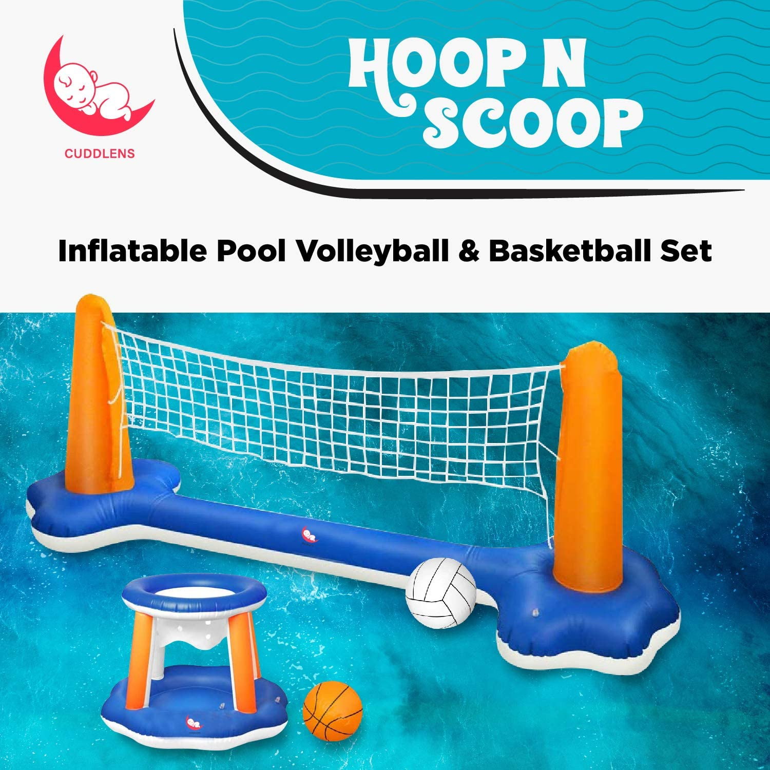 Cuddlens Inflatable Pool Float Set Volleyball Net /& Basketball Hoops; Balls Included for Kids and Adults Swimming Game Toy Summer Floaties Floating Volleyball Court