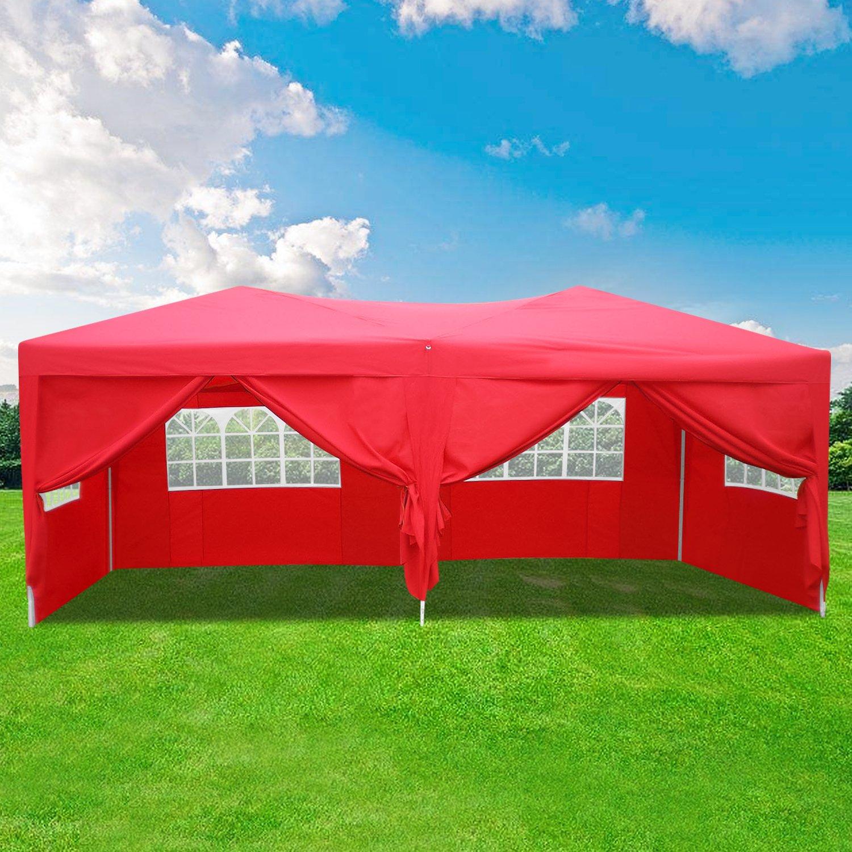 Homdox Tienda Pabellón Carpa 3M*6M con Paredes Laterales y Ventanas Plegables para Fiestas, Eventos, Boda, en Jardín o al Aire Libre, Rojo: Amazon.es: ...