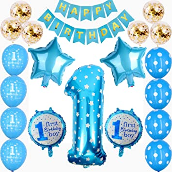 1st Birthday Boys Decorations First Blue Party For