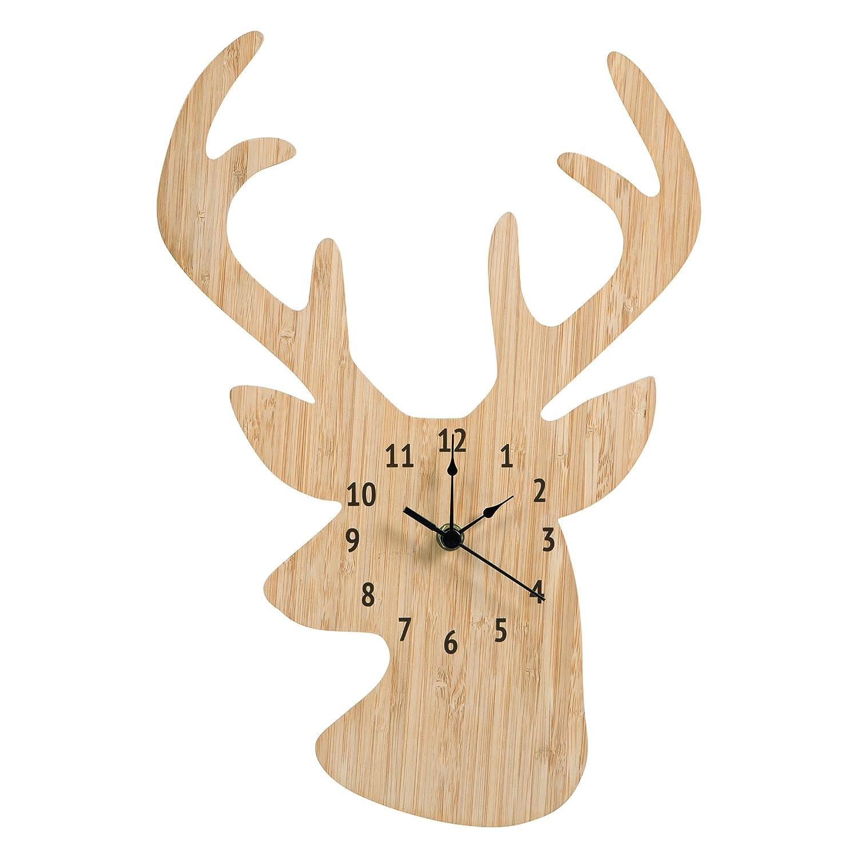 Trend Lab Bamboo Wall Clock, Tan, Stag Head 102388