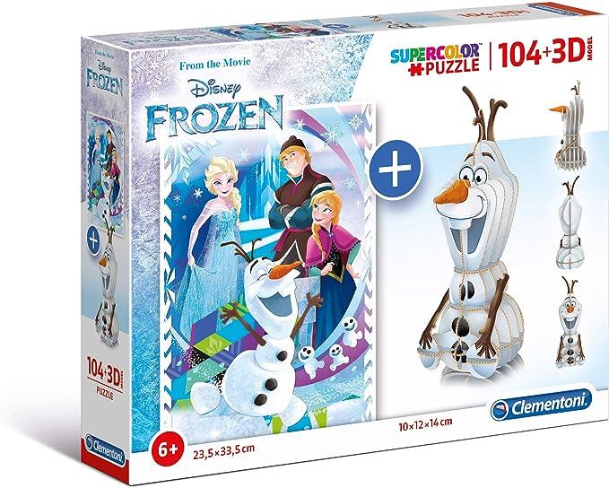 Clementoni Puzzle 104 3D model-frozen-104 Unidades, Multicolor ...