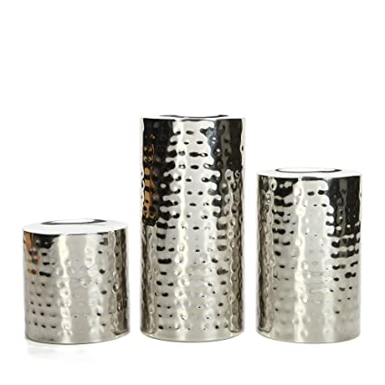 ae25355f7d15 Amazon.com  Hosley Silver Finish Pillar LED Candle Holders