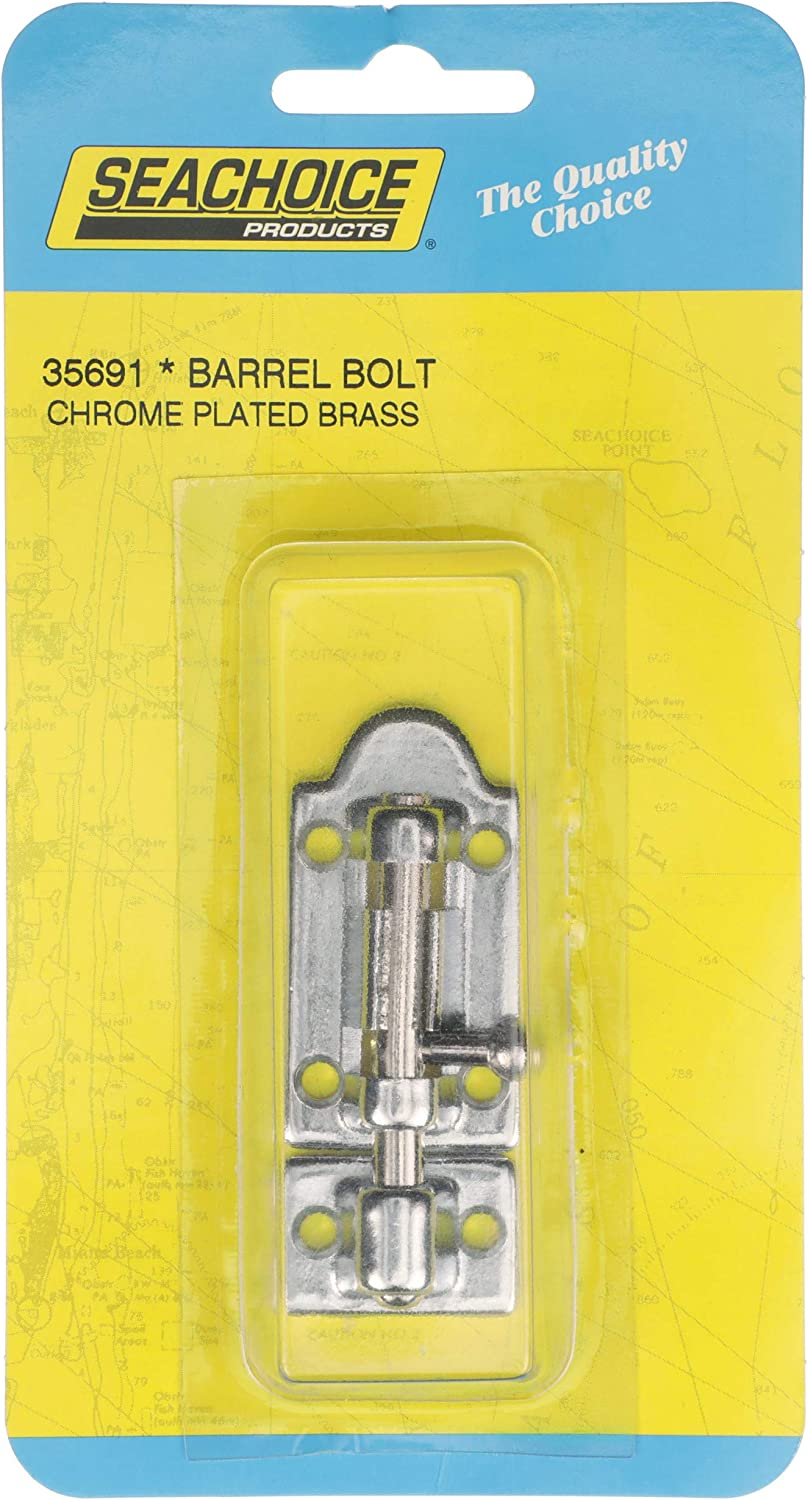 2-7//8 x 1-3//8 Inch Chrome Plated Brass Barrel Bolt for Boats RVs and More