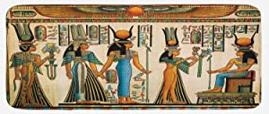 Lunarable Egyptian Print Kitchen Mat, Egyptian Papyrus Depicting Queen Nefertari Making an Offering to Isis Image, Plush Decorative Kitchen Mat with Non Slip Backing, 47