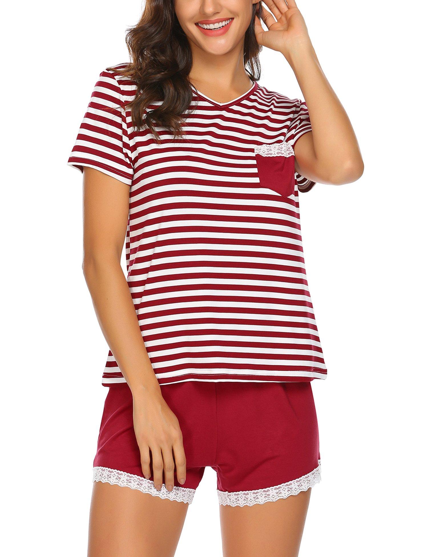 Ekouaer Women Soft Pajama Set Breathable Shorts Set Wine Red XXL