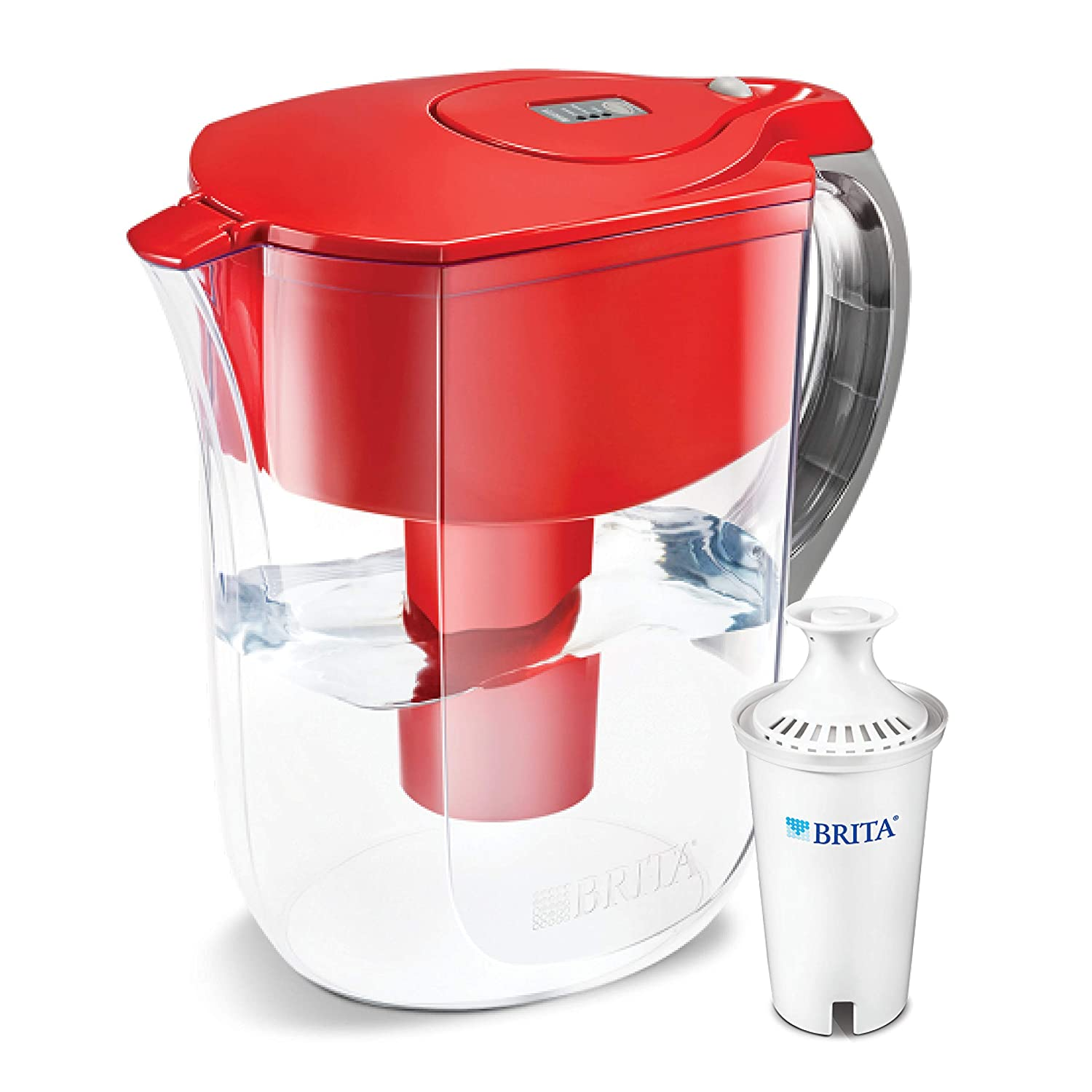 Brita Grand Water Filter Pitcher, Red, 10 Cup 10 Cup 10060258356585