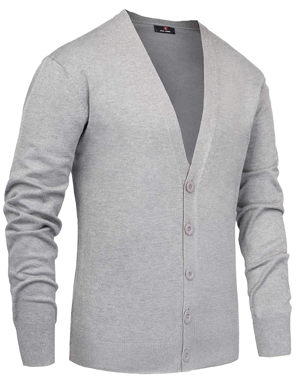 fa8584e131 Paul Jones Mens Casual Stand Collar Cable Knitted Button Down Cardigan  Sweater at Amazon Men s Clothing store