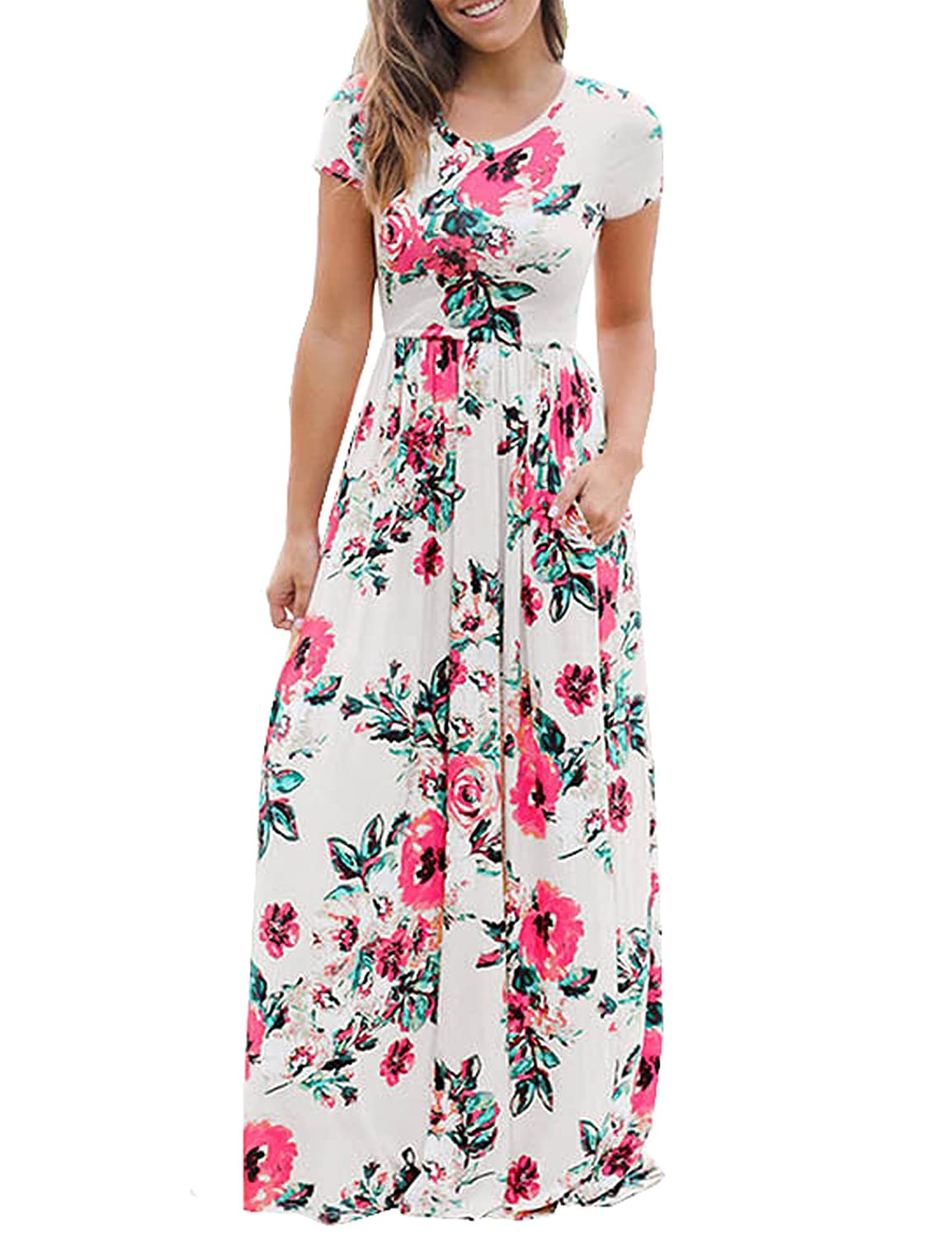0d92c49923 Murimia Women's Floral Print Short Sleeve Empire Flower Maxi Casual Dress  with Pocketed at Amazon Women's Clothing store: