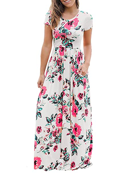 268793c2586 Murimia Women s Floral Print Short Sleeve Empire Flower Maxi Casual Dress  with Pocketed at Amazon Women s Clothing store
