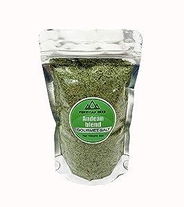 PERUVIAN HERB Andean Blend - Fine Gourmet Sea Salt with Andean Herbs from Maras, Peru 8oz