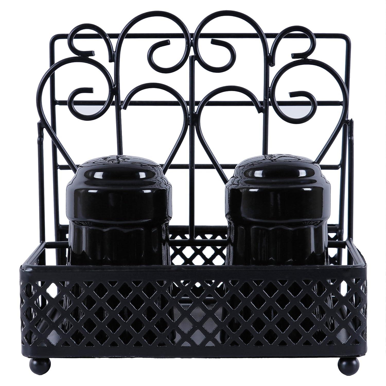 GoCraft Mothers Day Gifts Metal Napkin Holder and Salt & Pepper Caddy with Ceramic Shaker Sets - Black