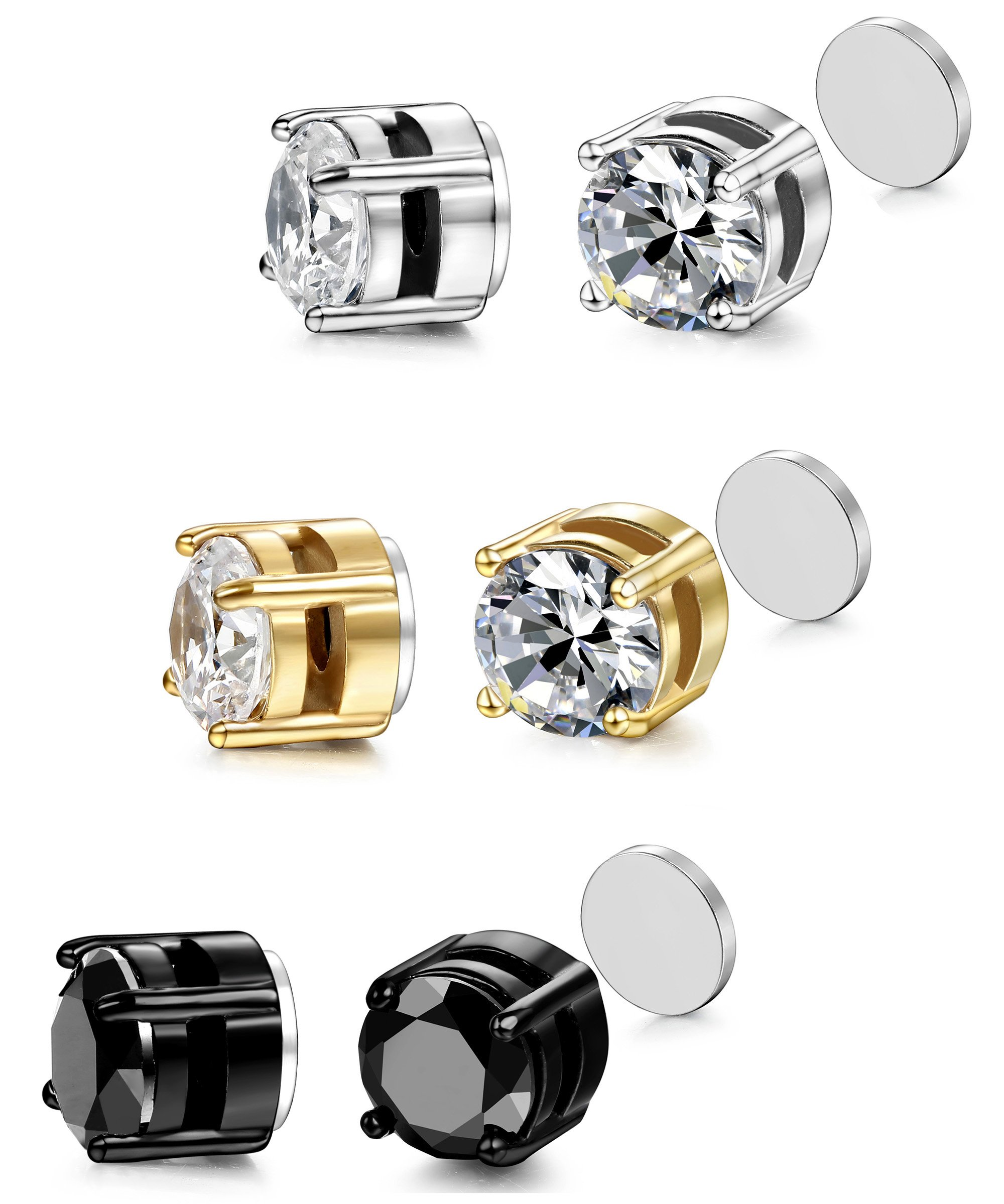 ORAZIO 3 Pairs Stainless Steel Magnetic Stud Earrings for Womens Mens Non Piercing Cubic Zirconia 8mm by ORAZIO (Image #5)