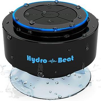 Altavoz portátil - Hydro-Beat SIRI. IP67 Altavoz portátil resistente al agua con bluetooth, micrófono incorporado, compartible con SIRI. Es recargable usando una toma USB de 3.5mm (Negro y Azul): Amazon.es: Electrónica