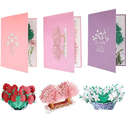 BBTO Handmade Pop Up Cards 3D Greeting Card Thank You Note With Independent Envelope