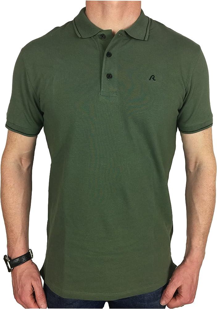 6f2b0698b Replay Mens Tipped Logo Polo Shirt in Khaki Green Large  Amazon.co ...