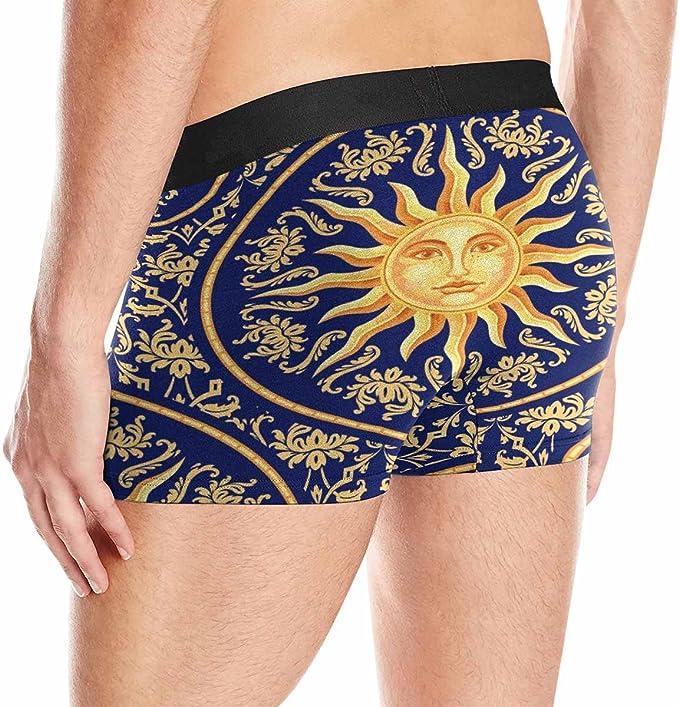 INTERESTPRINT Custom Mens All-Over Print Boxer Briefs Celestial Baroque Pattern with Sun Face XS-3XL