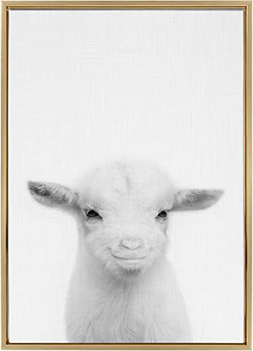 Kate and Laurel Sylvie Baby Goat Black and White Portrait Framed Canvas Wall Art