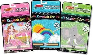 (Scratch Art Pad Bundle) - Melissa and Doug On the Go Scratch Art Activity Books Set, Fairy Tales, Favourite Things, Safari Animals