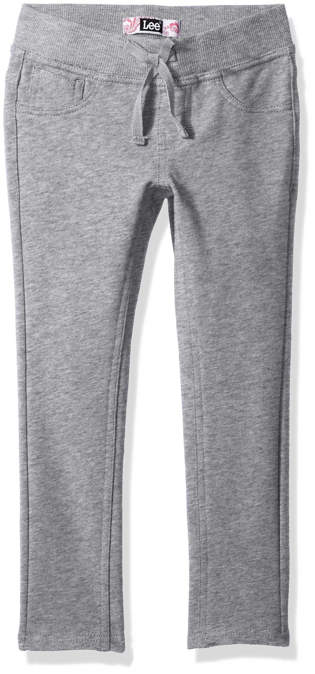 LEE Little Girls' Knit Waist Skinny Pull on Pant, Heather Grey, 4