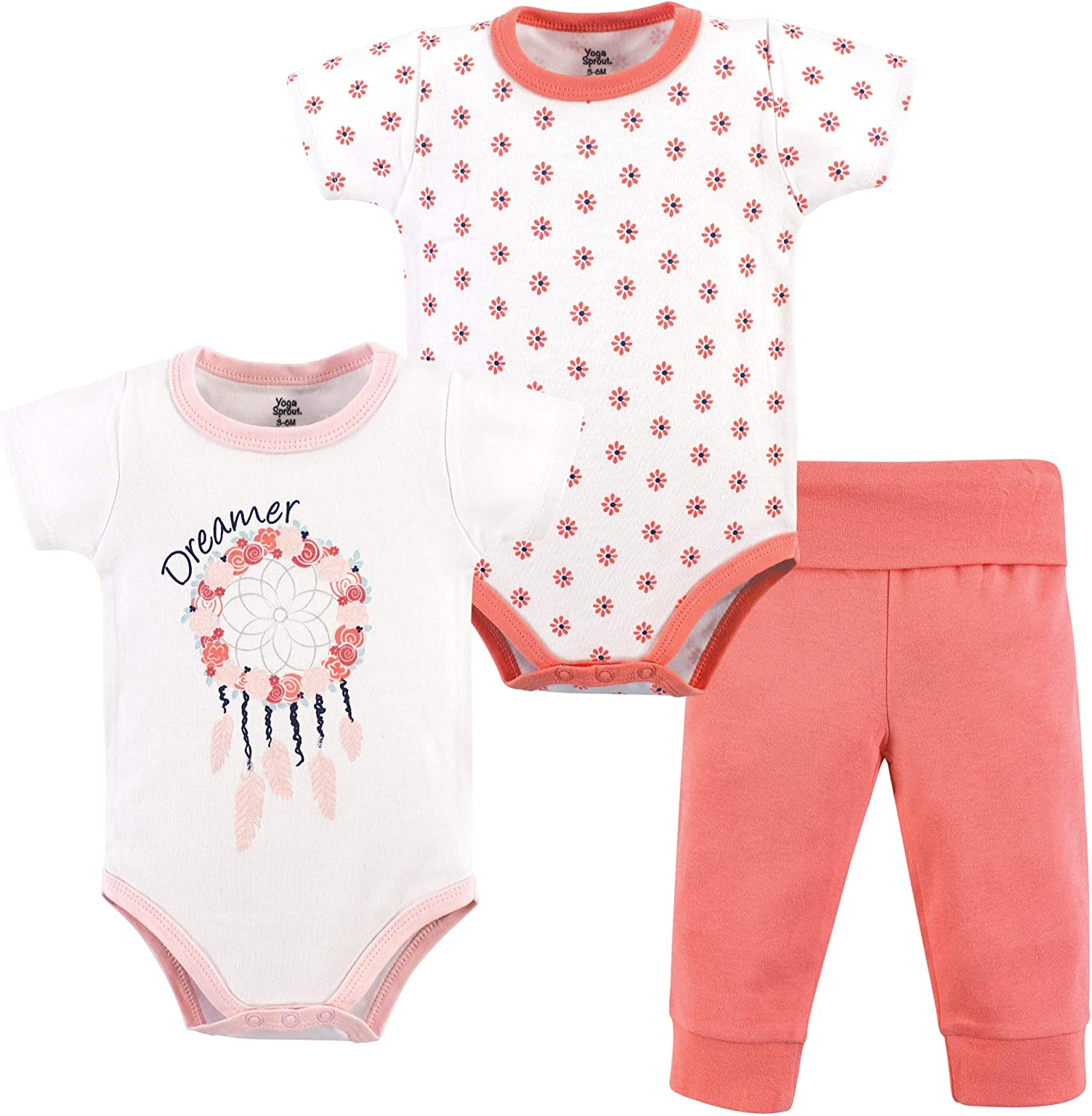 Yoga Sprout Unisex-Baby Bodysuit and Pant 3 Piece Set Layette Set