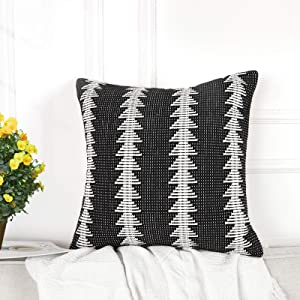 Lahome Farmhouse Throw Pillow Cover,Modern Striped Black and White Tree-Shaped Woven Accent Pillowcase for Boho Home Decor Sofa Couch (20x20)