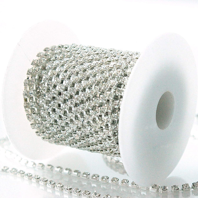 Silver Clear, 2.7mm 10 Yards Crystal Rhinestone Close Chain Trim Sewing Craft DIY Decorative Cup Chain with Crystal