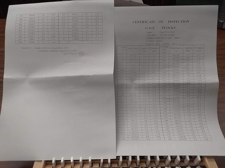 NIST Equivalent Certificate #702-CC01 81 PCS Ceramic Gage Block Set Grade 1