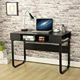 EBS Simple Style Office Desk Computer PC Home Desk Workstation Kids Study Table - Black 110 x 55 x 75