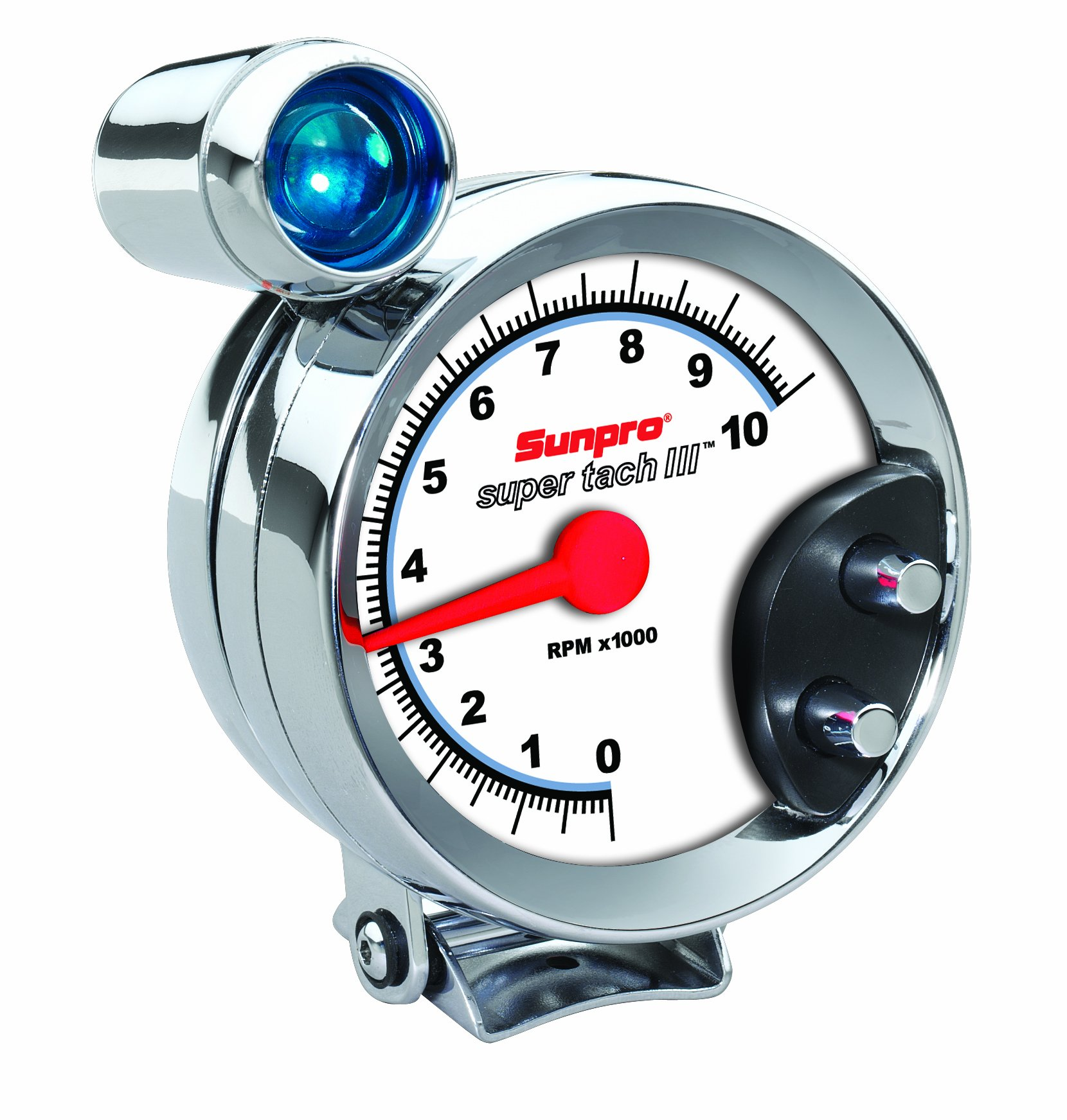 Sunpro CP7914 Super Tach III 5'' Chrome Bezel/White Face Tachometer with Shift Light by Actron