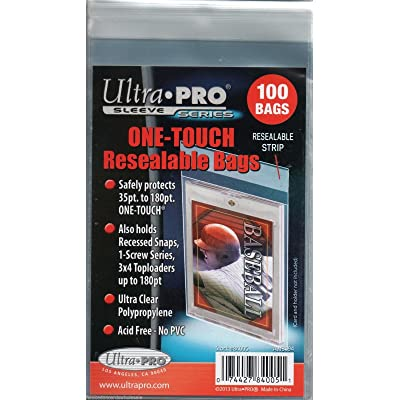 Ultra Pro 1 Pack of 100 One Touch Resealable Bags Sleeves for Card Holder: Sports & Outdoors