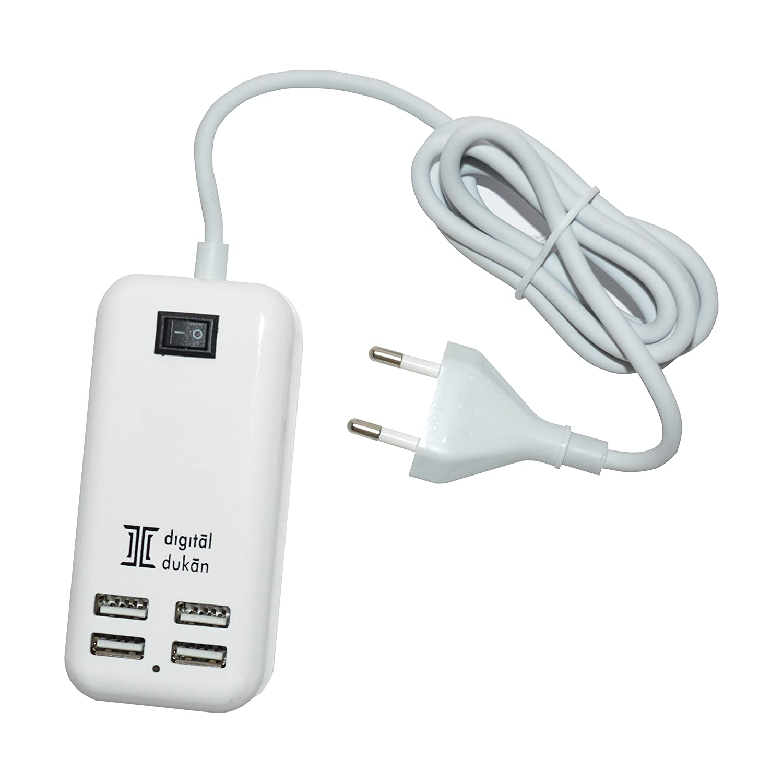 Digital Dukan Digital Dukan 4 Port USB Charging Hub | 15W, 100V - 240V Wall Charger Adapter for Mobile Phones, Tablets, Gadgets