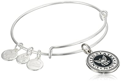 5ef7246437422 Alex and Ani Armed Forces US Navy Expandable Wire Bangle Charm Bracelet