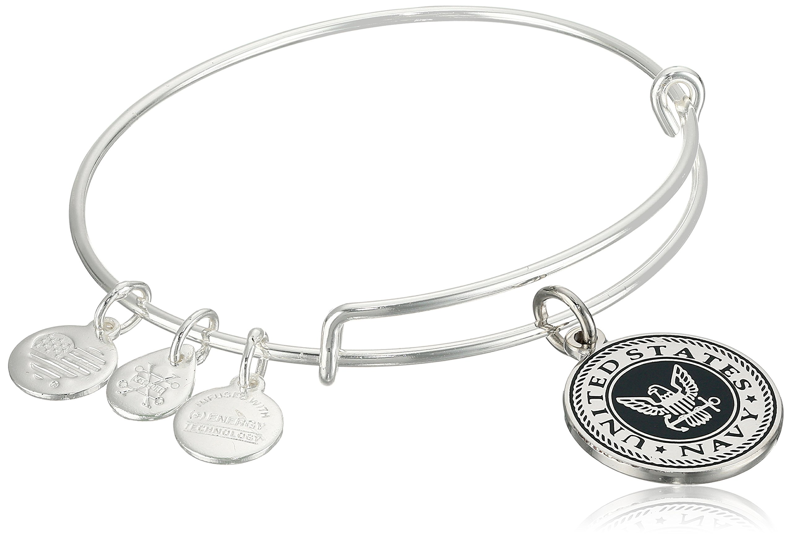 Alex and Ani ''Armed Forces'' US Navy Expandable Gold Wire Bangle Charm Bracelet