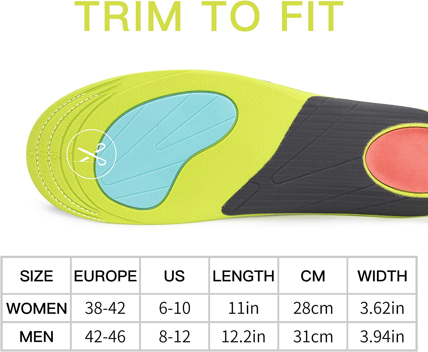 DataCaring Plantar Fasciitis Arch Support Insoles,Orthotic Inserts for Flat Feet,Running Athletic Insoles,High Arch Insoles,Basketball Insole,Thick Shoe Insoles,Arch Support Insoles for Men and Women: Health & Personal Care