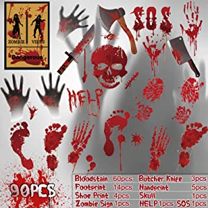 KULARIWORLD Halloween Decorations,Bloody Handprints Footprints Skull for Halloween Party Supplies,Window Clings Decor Scary Floor Wall Decal,Restroom Zombie Vampire Sign Spooky Blood Stickers(90 PCS)