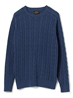 Cotton Cable Crewneck Sweater 11-15-1160-103: Navy