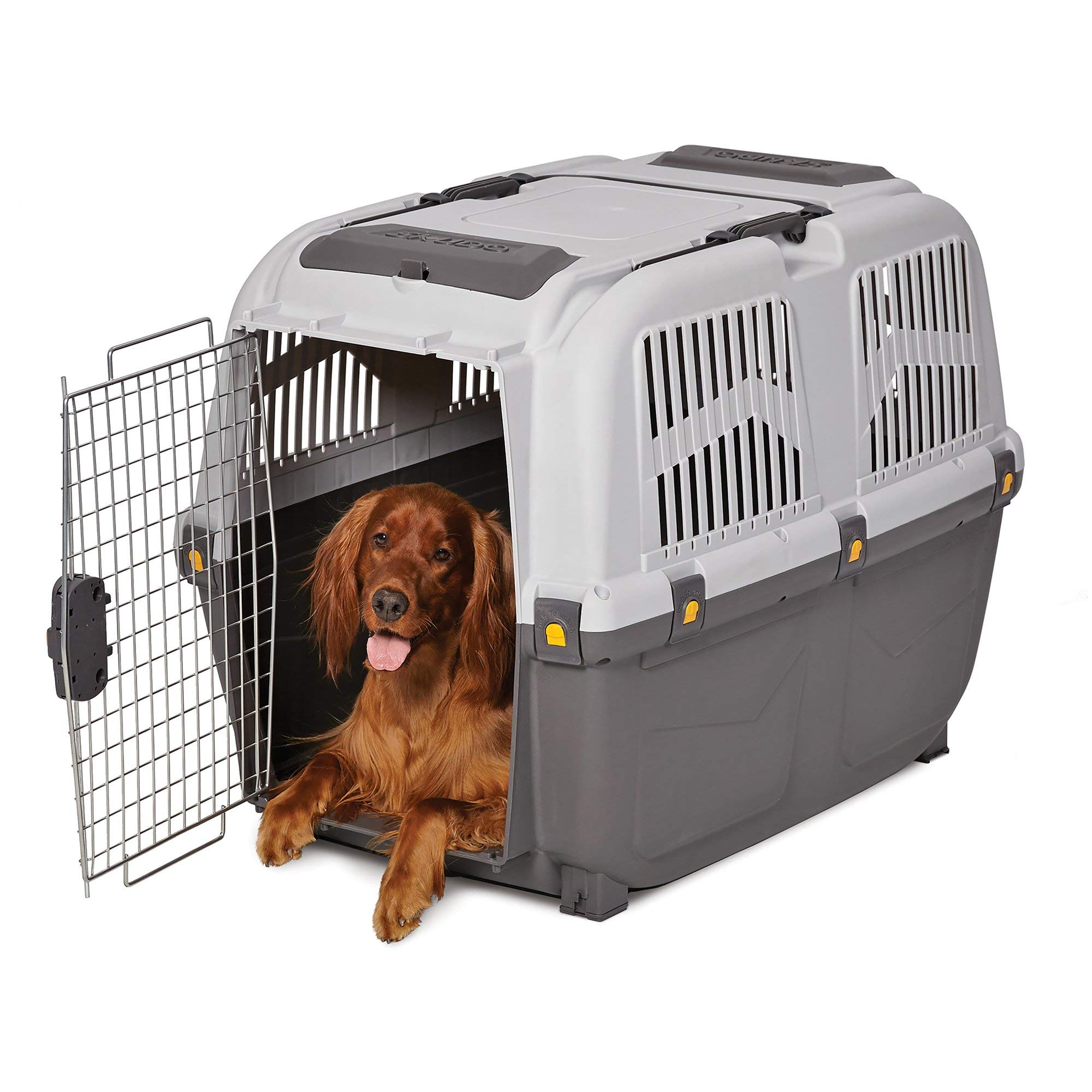 Midwest Skudo Plastic Travel Carrier for Dogs, 31.38'' L X 23.13'' W X 25.5'' H, Large, Gray by MidWest Homes for Pets