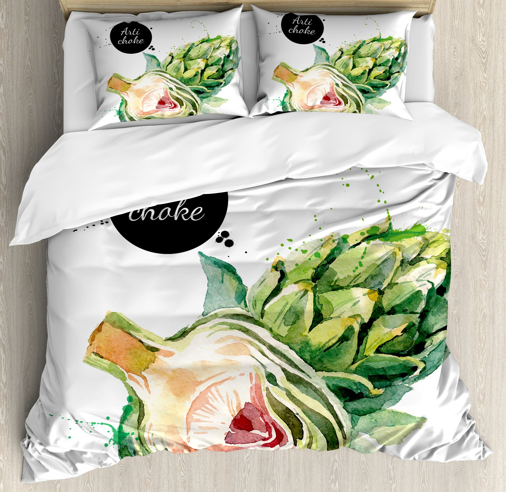 Artichoke King Size Duvet Cover Set by Ambesonne, Going Green Vegetable Food Eating Health Hand Drawn Watercolor, Decorative 3 Piece Bedding Set with 2 Pillow Shams, Fern Green and Dried Rose by Ambesonne (Image #1)