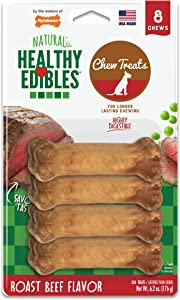 Nylabone Healthy Edibles All-Natural Long Lasting Roast Beef Flavor Chew Treats 8 count Petite - Up to 15 lbs. (NE801VP8P)