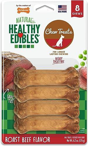 Nylabone Healthy Edibles Natural Long Lasting Dog Chew Treats Roast Beef Petite 8 Count