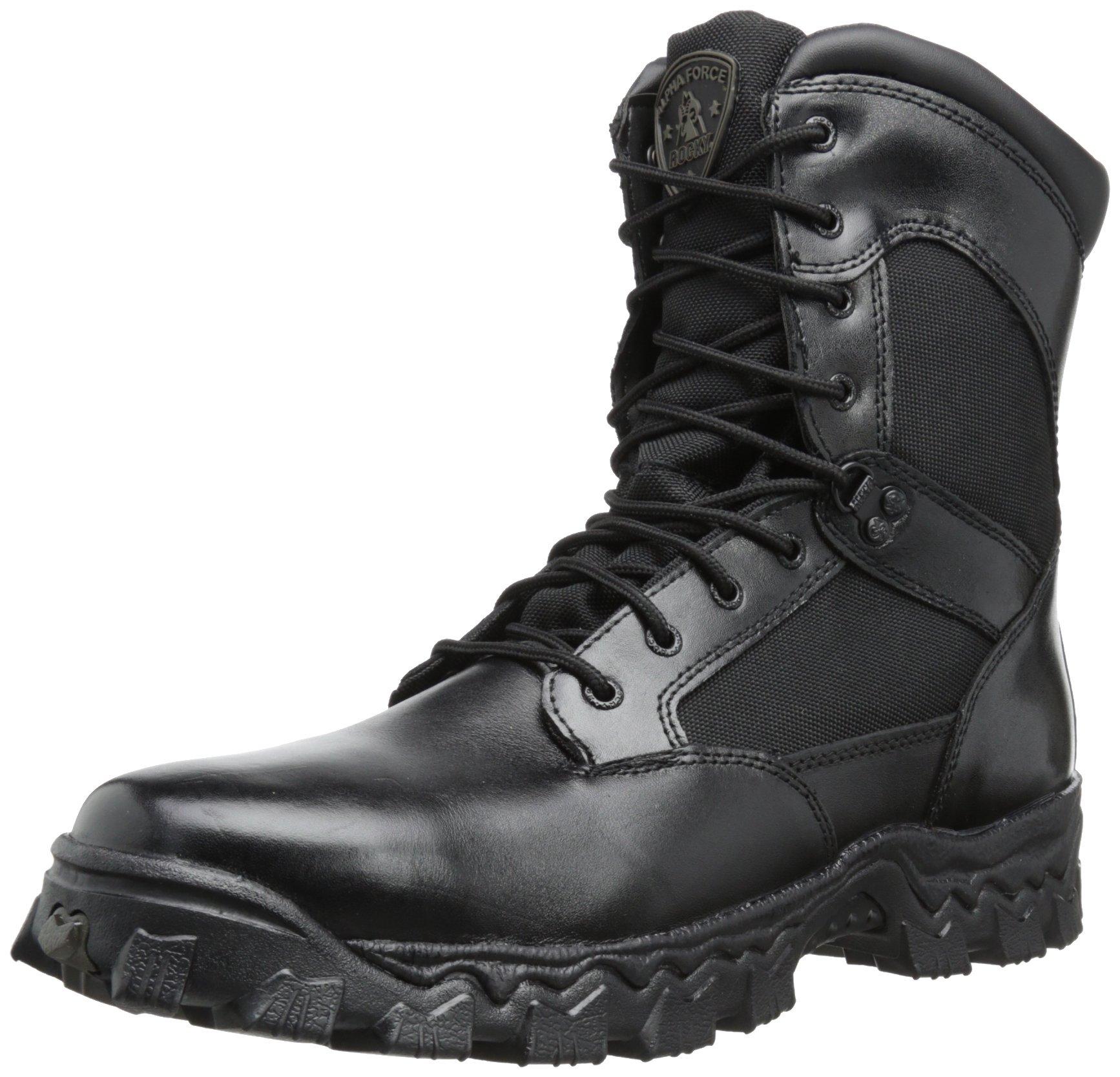 Rocky Men's Alpha Force 8 Inch Side Zip Work Boot,Black,6 W US
