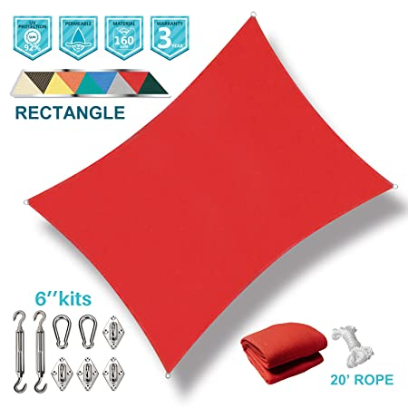 Coarbor 8 x12 Sun Shade Sail with Hardware Kit Rectangle Red UV Block Fabric Canopy Shade Cover Perfect for Patio Deck Yard Outdoor Garden