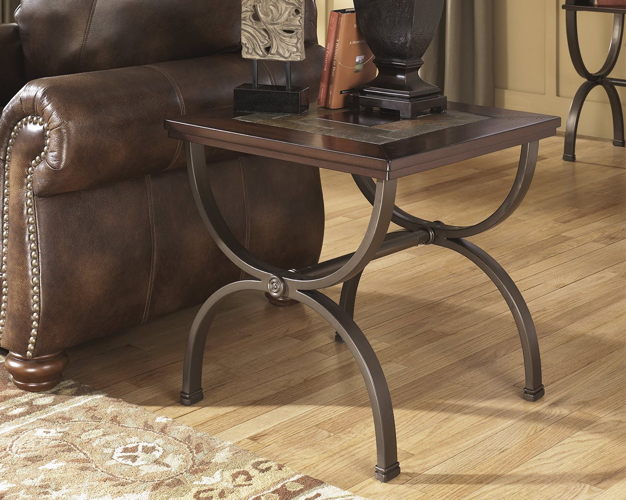 Ashley Furniture Signature Design – Zander Chair Side End Table – Contemporary Style Accent Table – Medium Brown with Mosaic Top