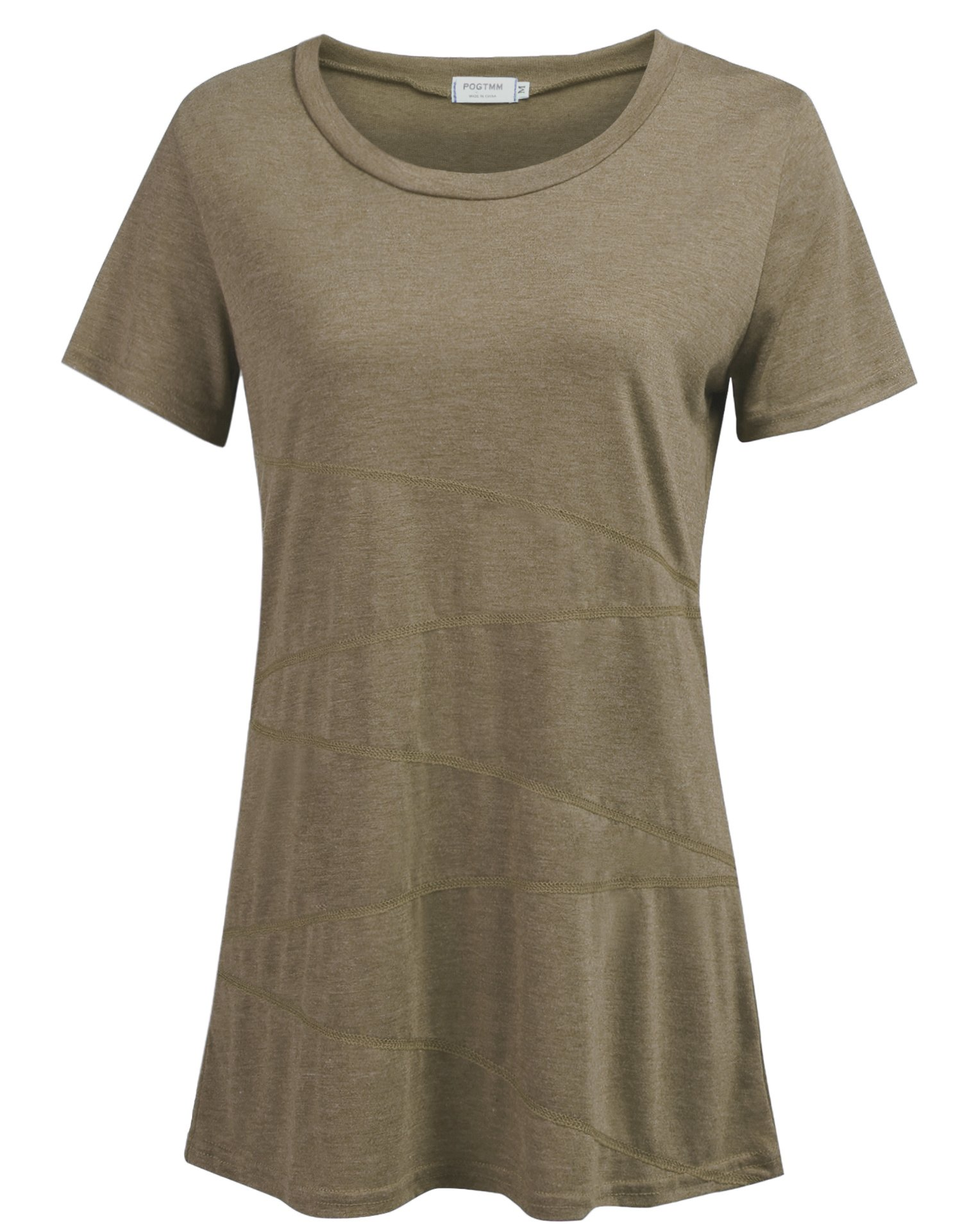 POGTMM Women's Casual Loose Short Sleeve Shirts Yoga Tops Activewear Running Workout T-Shirt Blouse (Brown-Coffee, US M(8-10))