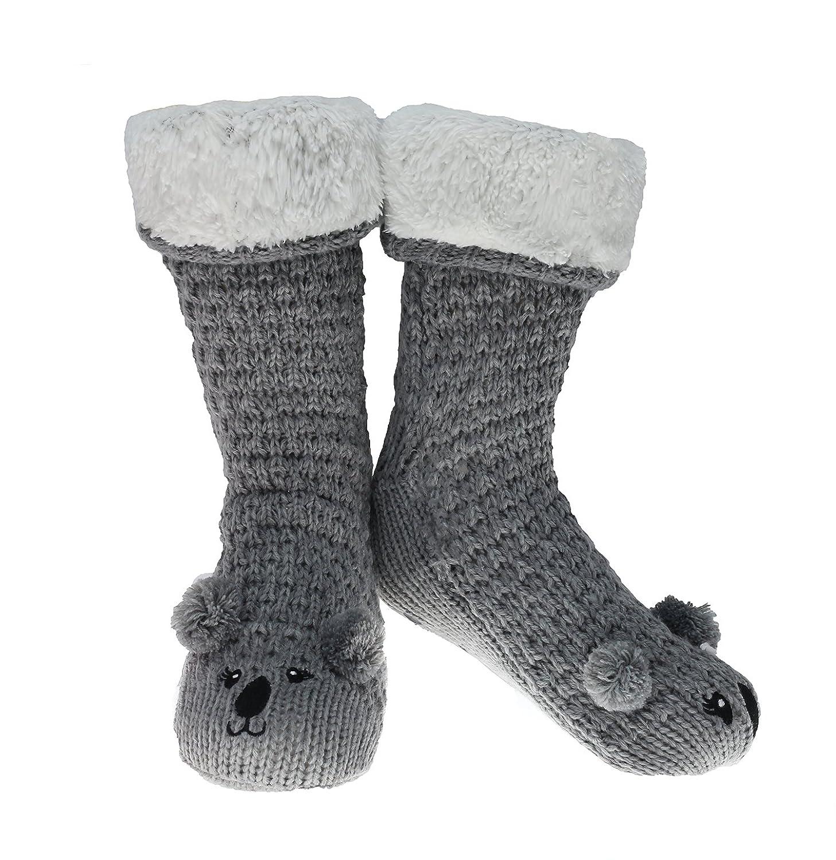 CityComfort Calze Antiscivolo Donna Calzettoni Pantofole Ragazza Babbucce Invernali con Animali Topo Volpe Pecora Maialino Koala