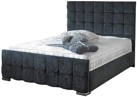 Istria cama marco o cama de almacenamiento tapizados de terciopelo arrugado en el marco de comforest