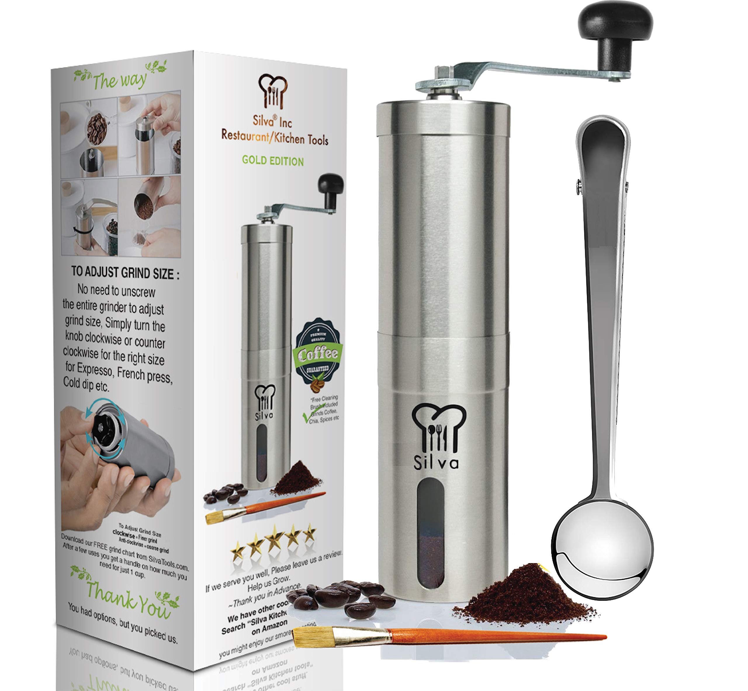 Manual Coffee Bean Grinder-Conical Hand Burr Mill -Best French Press Grinder by Silva