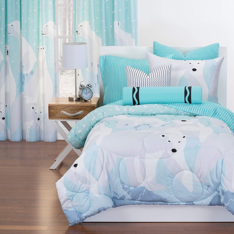 Amazon Com Crayola White Bear Reversible Comforter Set In Blue Twin 2 Piece Home Kitchen